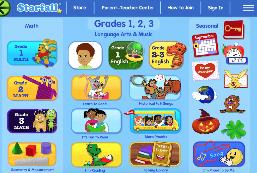 Starfall educational website for young children