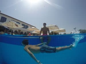 How to take underwater and above water photos at the same time.