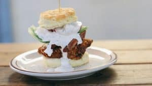 The fried chicken club biscuit at Pine State Biscuits in Portland