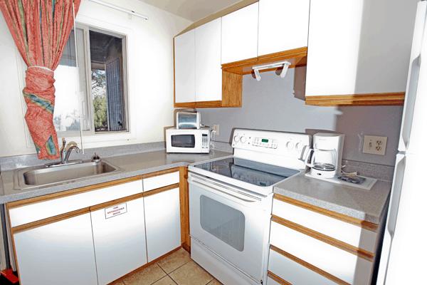 Kitchen inside a Bellows beach cabin
