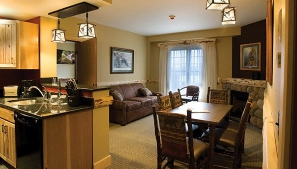Hope Lake Lodge living room and full kitchen