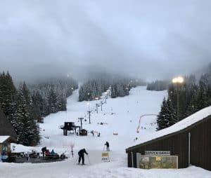 Skiing on Mt. Hood at SkiBowl