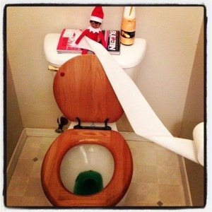Elf on the Shelf pees green