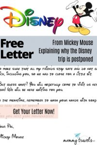 A Disney letter from Mickey Mouse about not being able to visit because of Corona virus