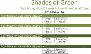 Military park hopper Disney World tickets