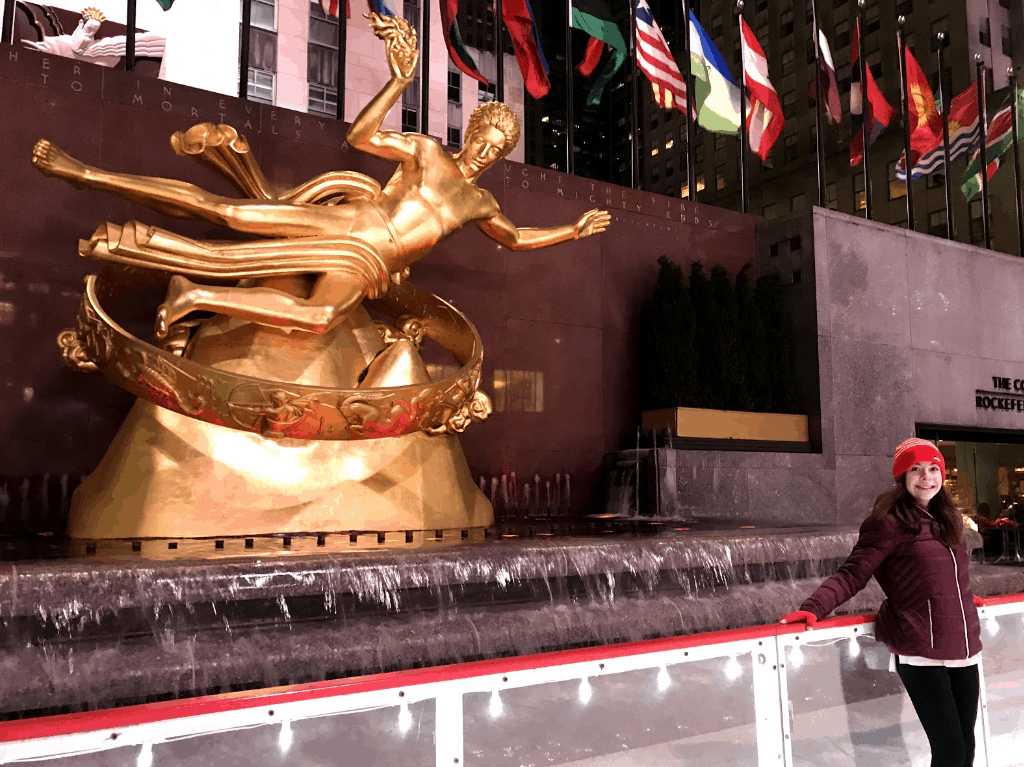 Ice skating at Rockefeller Plaza