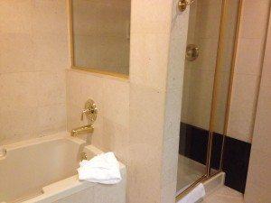 Luxor hotel room bathroom