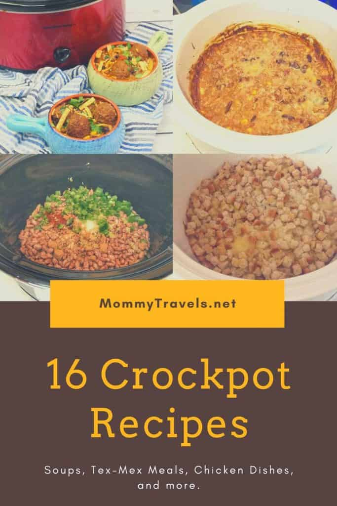 16 Crockpot recipes including soups, Tex-Mex Meals, Chicken Dishes and more.