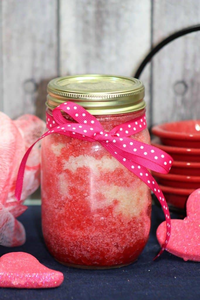 Learn how to make your own body scrub with this cherry vanilla sugar scrub