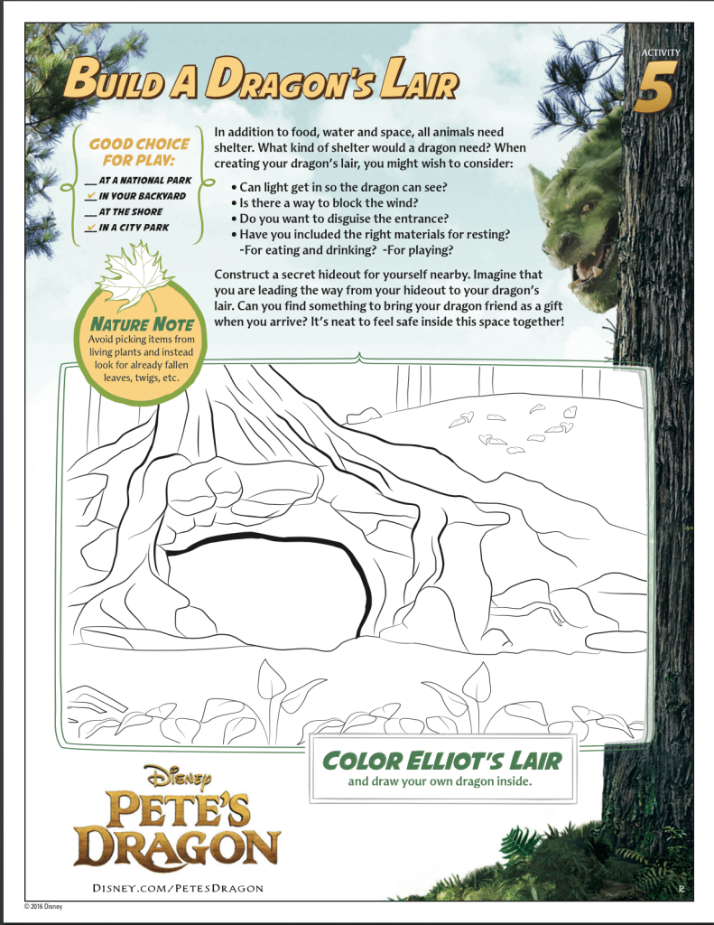 Pete's Dragon coloring sheet