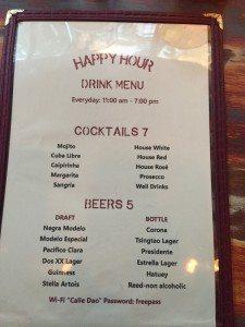 Calle Dao happy hour menu