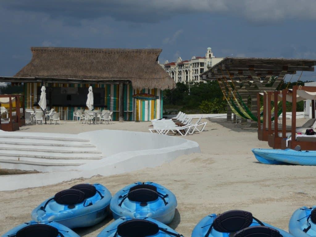 Explorean Cozumel beach bar and beach hammocks