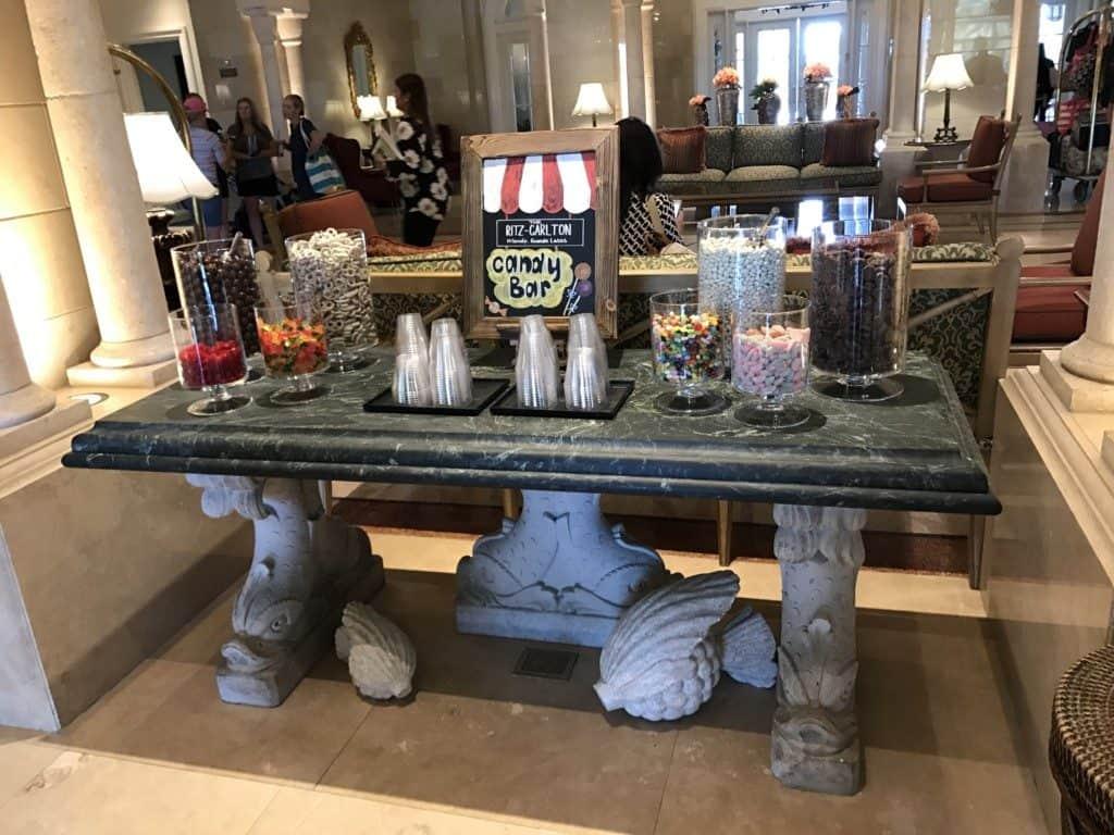 candy bar at the Ritz Orlando
