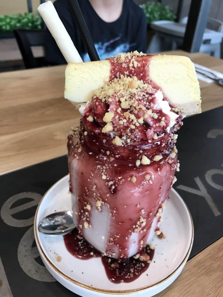 A Strawberry Cheesecake Milkshake at The Coffee Club in Bangkok, Thailand