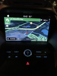2017 Ford Escape navigation screen at night