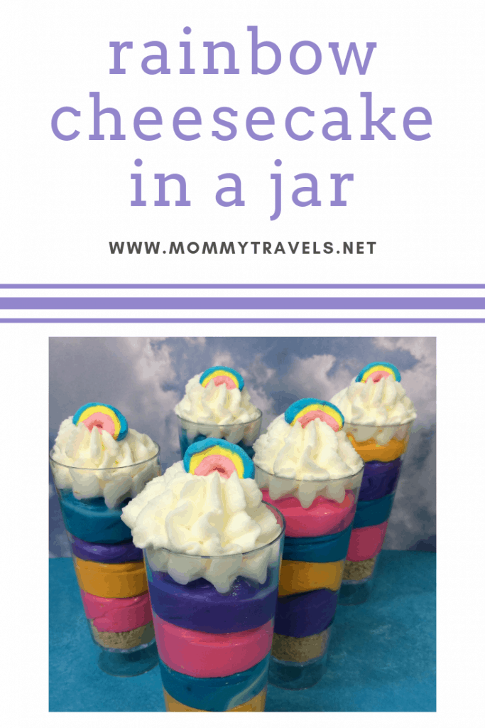 rainbow cheesecake in a jar