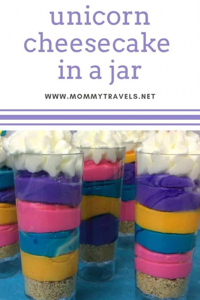 Unicorn cheesecake in a jar