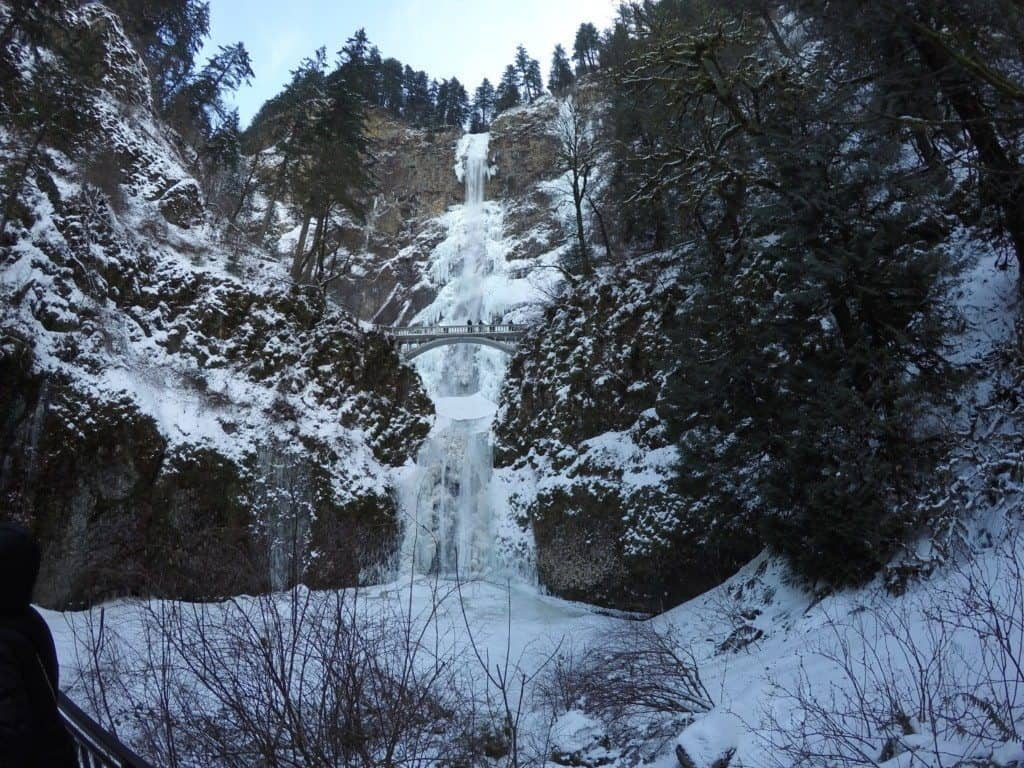Multnomah Falls covered in snow and ice