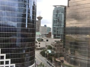 The view from the Fairmont Pacific Rim hotel in Vancouver Canada