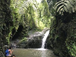 waterfall hike in Oahu