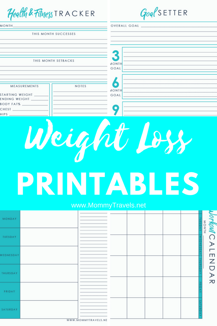 4 weight loss printables including tracking your measurements a workout calendar a weekly meal