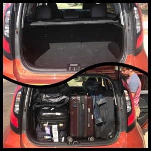 2017 Kia Soul - The trunk space is fine, but on the small side. We managed to get our family's luggage into the vehicle, but barely.