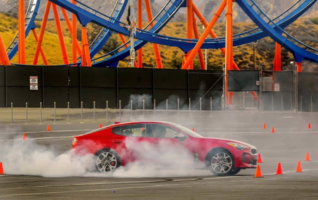 Kia Stinger tires smoking during the Kia Stinger Experience