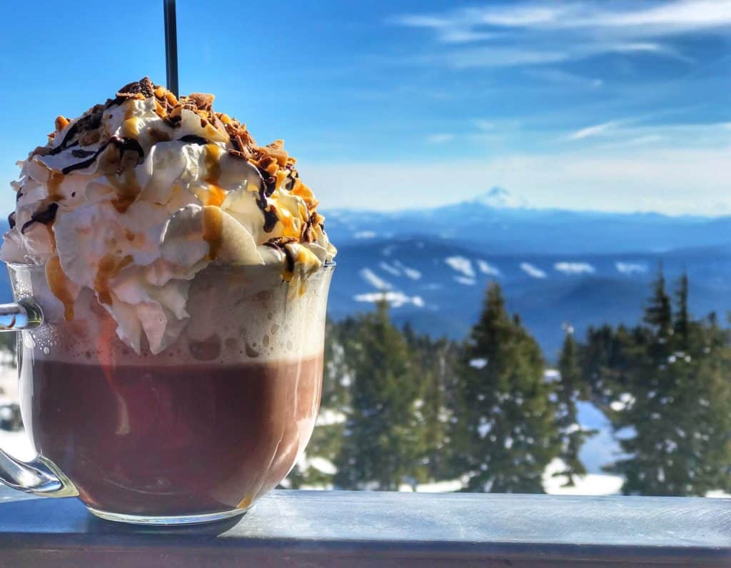 An insane hot cocoa at Timberline Lodge