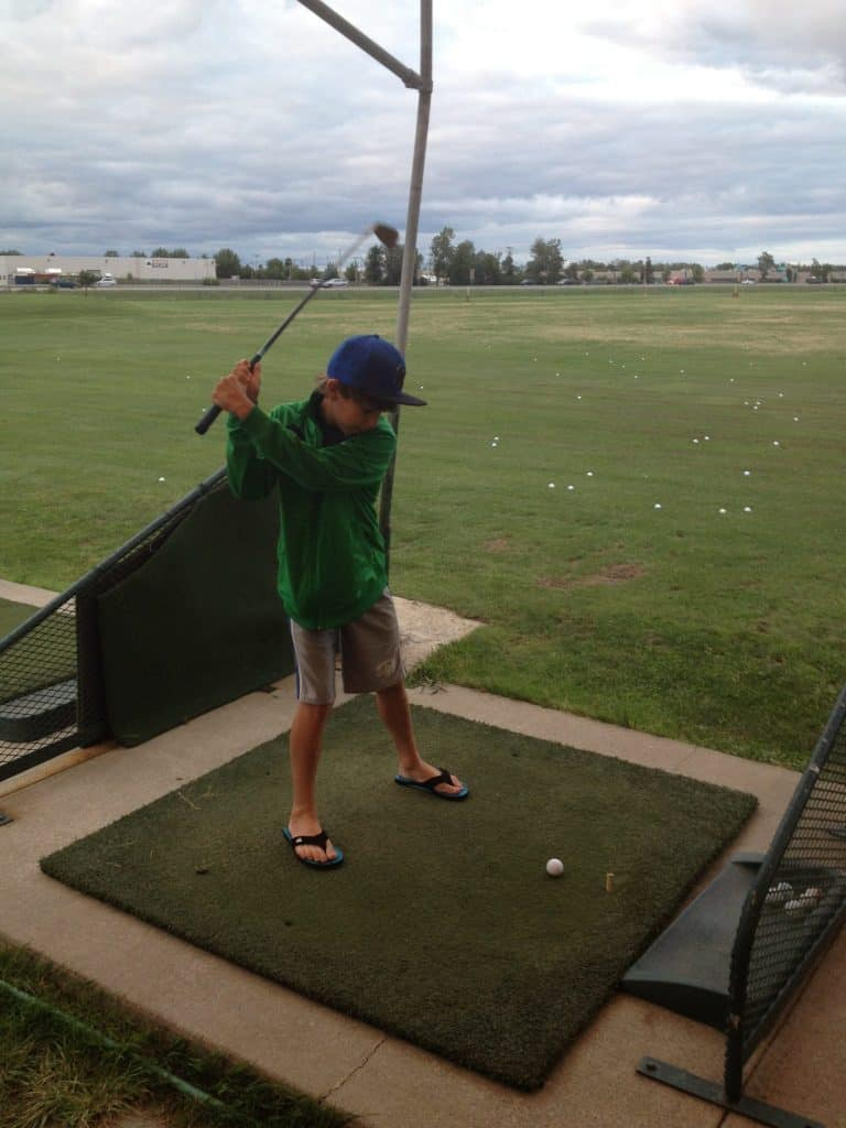 Driving range - hitting golf balls