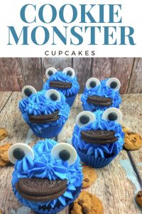 Cookie Monster Cupcakes recipe and directions perfect for a Cookie Moster birthday party or Seasame Street party