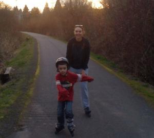 roller skating or roller blading