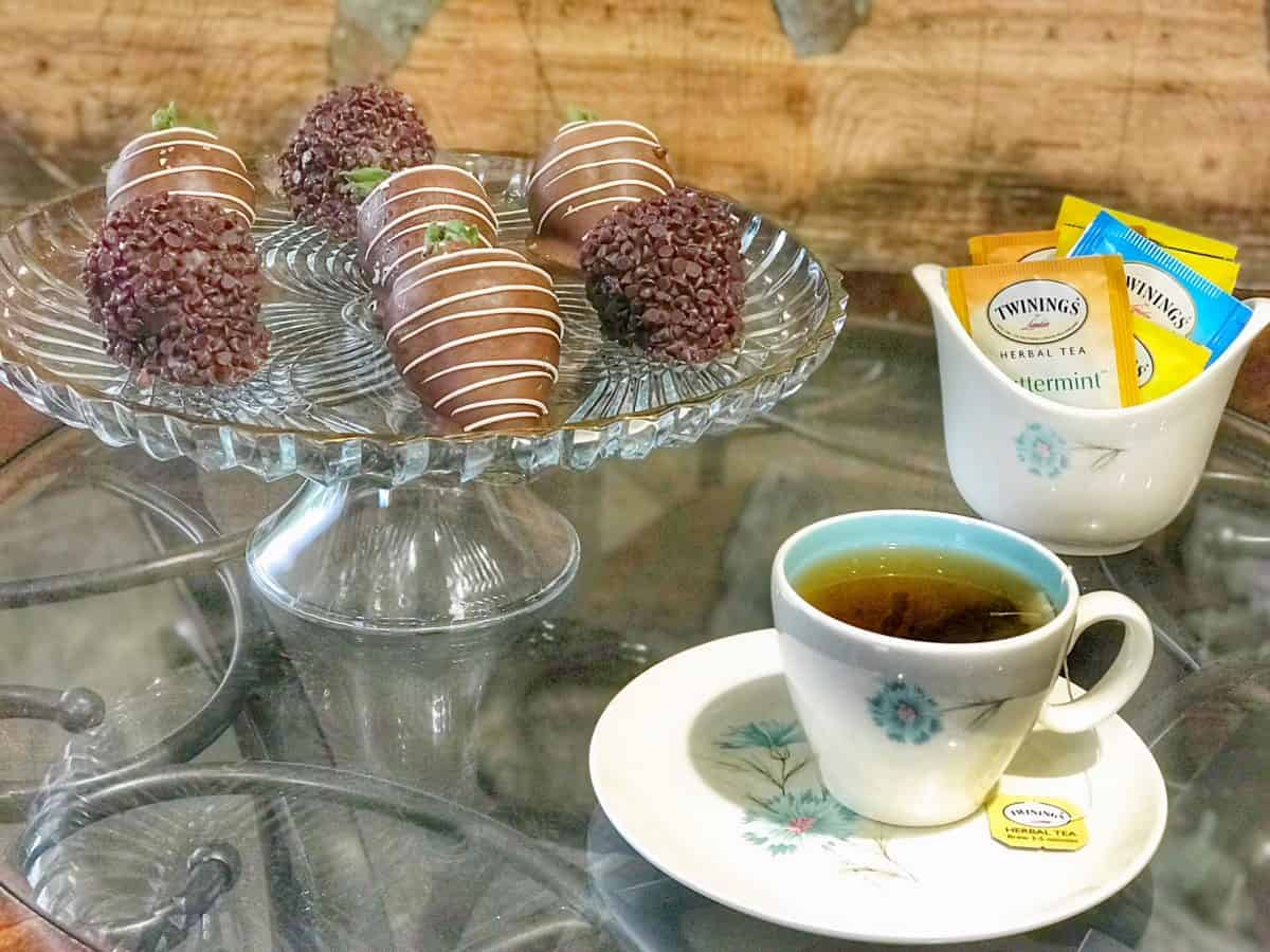 Twinings tea and chocolate covered strawberries