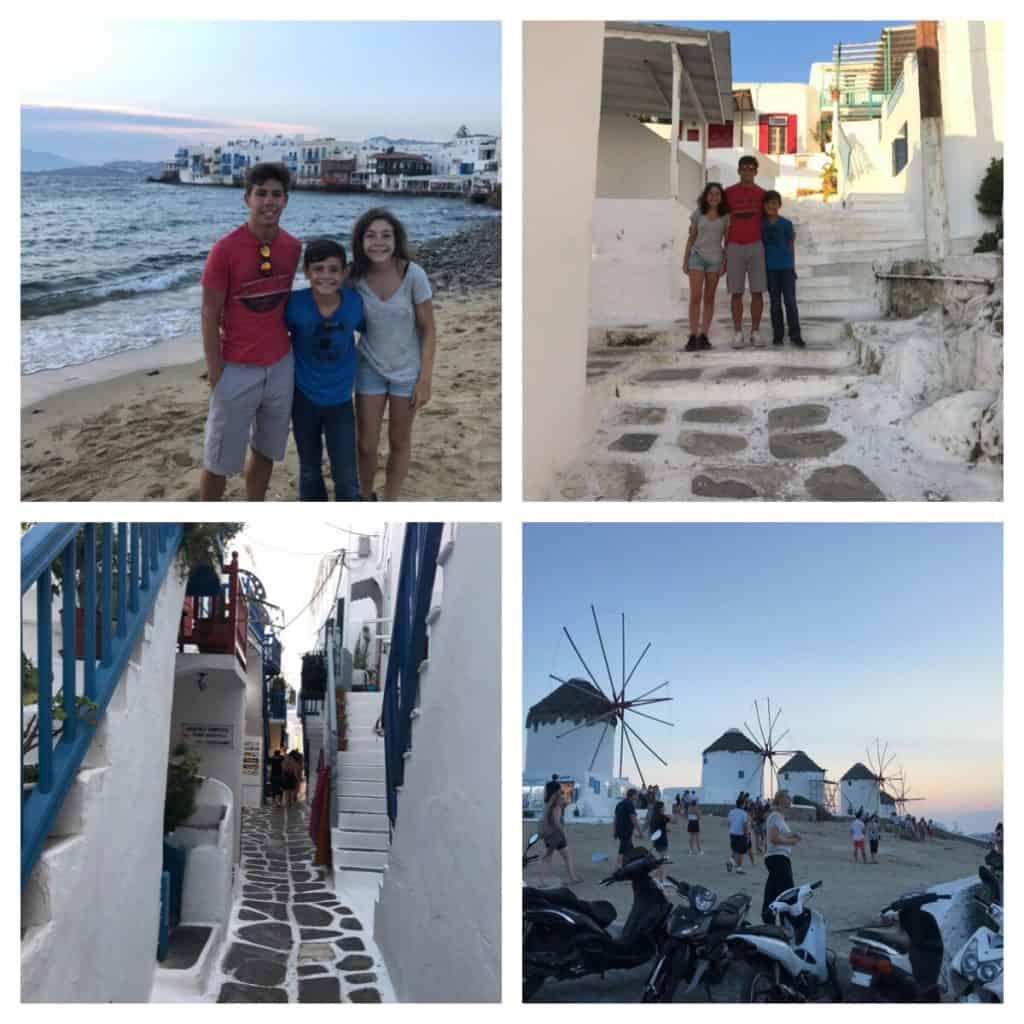 Mykonos City with kids