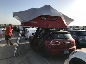 Tent on top of a Mini Cooper