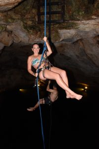 rappeling into a cenote at Pac Chen