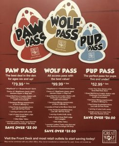 Great Wolf Lodge activity passes