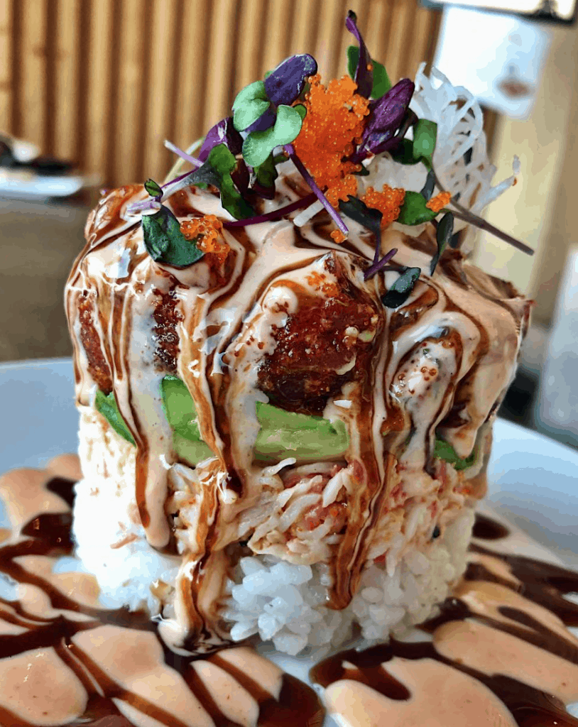 The sushi tower at Jjanga Steak & Sushi