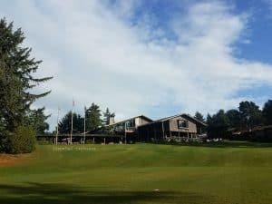 Salishan Resort golf course view of lodge