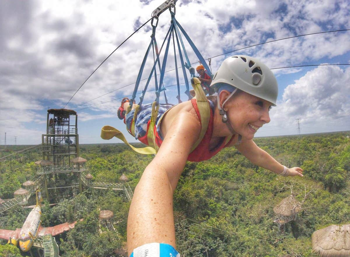 Going on the Superman zip line at Selvatica