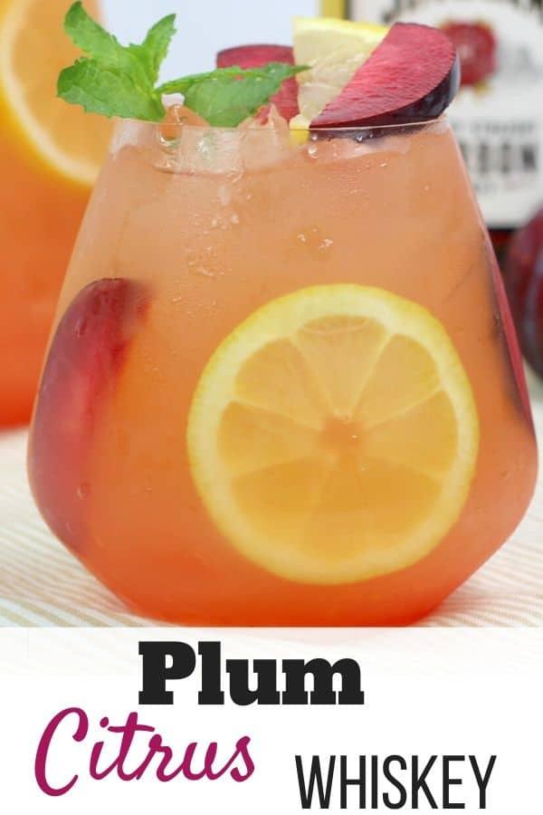 Plum Citrus Whiskey Cocktail