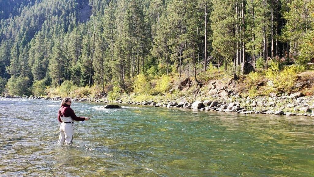 Fly fishing the Gallatin River near Big Sky, Montana