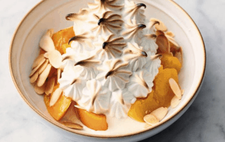 Peach and Almond Alaska with Toasted Meringue