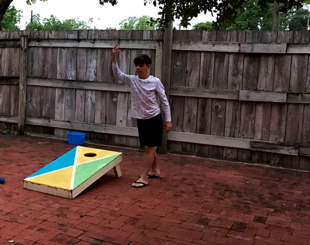Playing cornhole