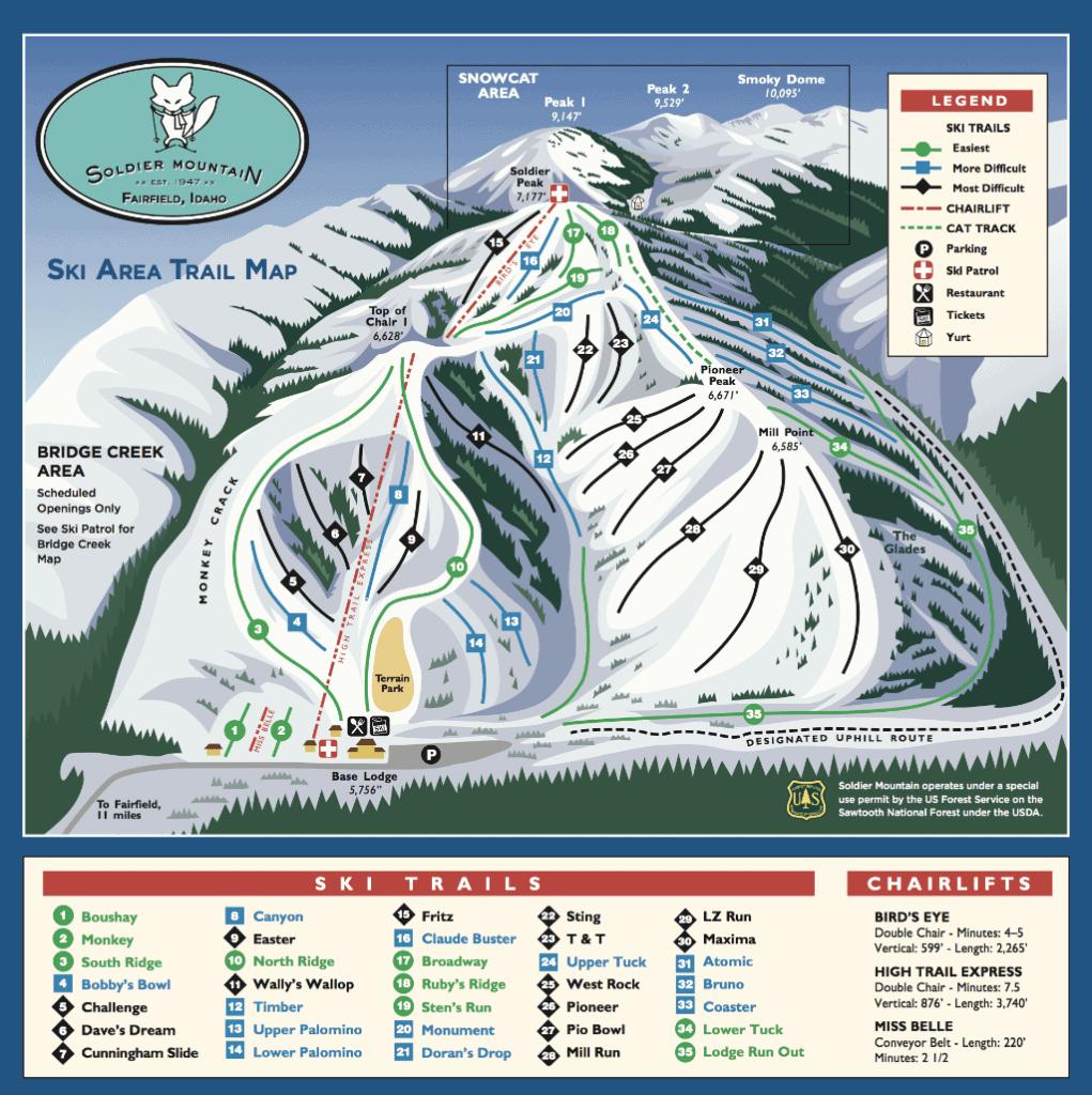 Soldier Mountain Ski Resort Trail Map