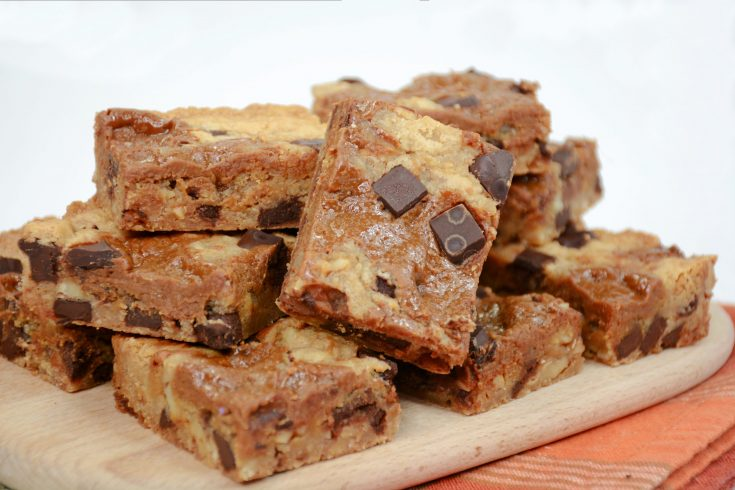 Salted Dark Chocolate Dulce de Leche Blondies Recipe