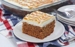 Carrot Cake Sheet Cake with Salted Caramel Sauce