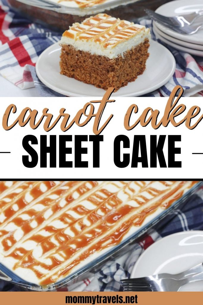 Carrot Cake Sheet Cake recipe with caramel sauce