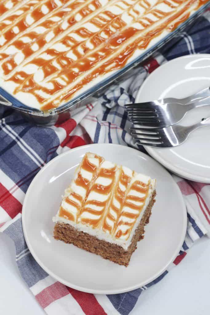 Carrot Cake Sheet Cake with Salted Caramel Sauce Recipe